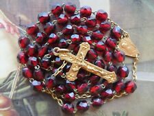 Antique Med Art Nouveau Garnet Red Glass Beads Rosary-Goldplated