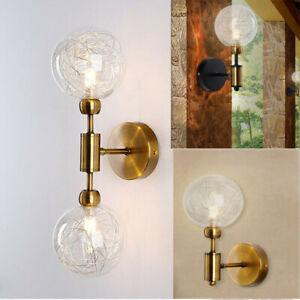 Modern Aluminum Wires Glass Globe G9 LED Black Gold Indoor Wall Sconces Light