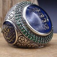 Vintage Men Charm Islamic Muslim Allah Shahada Arabic Rings God Messager Ring