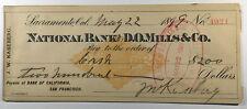 Sacramento, CA, - National Bank of D. O. Mills & Co. - Antique Bank Draft - 1899