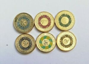 2020 Australian Olympic & Paralympics $2 Dollar Coloured Coin Set - (6 Coins)UNC
