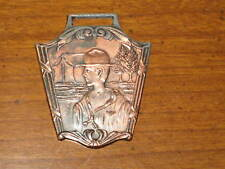 Boy Scout Watch Fob, copper color, almost looks like a Girl Scout, early    c42