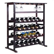 NEW 24 Bottle Wood Wine Rack Holder Storage Shelf Display w/ Glass cups Hanger +