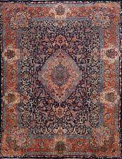 Vintage Navy Blue Rust Kashmar Floral Area Rug Hand-Knotted Oriental Carpet 9x13
