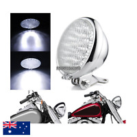 "5"" Chrome billet LED headlight Harley cruiser Chopper Bobber custom cafe racer"