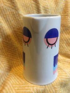 Camila Prada Blue Owl Porcelain White Pouring Jug Pot Vase Genuine Transfers VGC