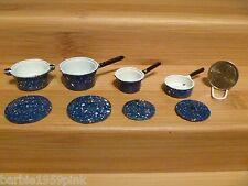 Barbie Size Set of Blue & White Metal Pots & Pans With Lids 8 Piece Has Freckles