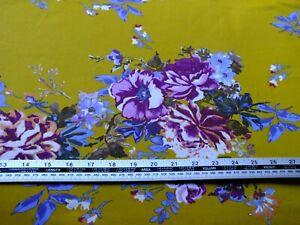 2 meters piece .100 % cotton Poplin black with multicolored floral