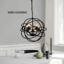 5 Lights Industrial Retro Orb Chandelier Pendant Ceiling Lamp Metal Globe Cage