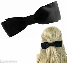 Big Beautiful Black Satin Bow Hair clip Grip Barrette French Clip 18 cms Long
