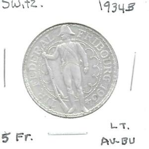 Switzerland 1934B 5 Francs Shooting Festival Commem. Silver Coin KM-S18 AU+