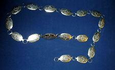 Vintage Concho Silver-Tone Engraved Link 42 inch Ladies Belt