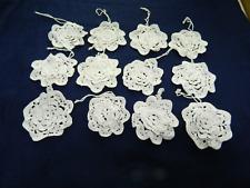 """12 White Rosette Tree Ornament Shade pull Crochet Floret Sm Doily Motif 2.5-3.5"""""""