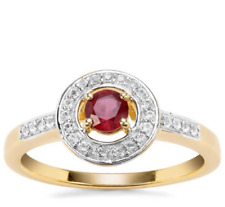 Malagasy Ruby & White Topaz Halo Yellow Gold Plated 925 Silver Ring Size L-M/6