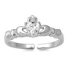 Clear Cz Jewelry Face Height 7 mm Claddagh Toe Ring Genuine Sterling Silver 925