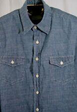 Lee Dungarees XL Mens Shirt Blue Denim Long Sleeve Shirt 2 Pockets Button Flap