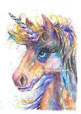 Pintura Acuarela unicornio mágico por Sophie Appleton réplica de caballo original