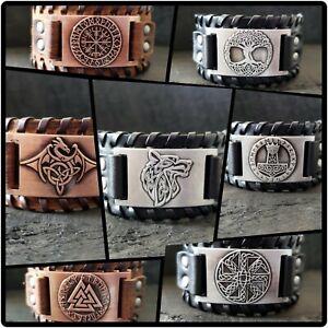 BLACKSTATIC Collection - Men's Viking Norse Leather Cuff Bracelet