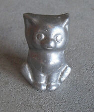 "Vintage 1960s LLH Marked Metal Aluminum Cat Figurine 2"" Tall"