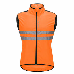 Men Windproof Cycling Vest Sleeveless Gilet Bike Waistcoat Reflective Top Jacket