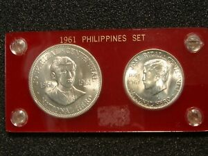 1961 Philippines Silver One Peso & Half Peso BU Uncirculated 2 Coin Set