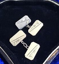 ANTIQUE VICTORIAN SOLID SILVER GENTLEMAN'S CUFFLINKS ENGRAVED DESIGN
