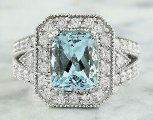 4.58 Carat Natural Aquamarine 14K White Gold Diamond Ring