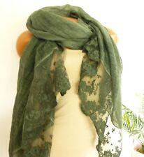 Damen Stola Schal Spitzen Rosen Silber Gruen grün