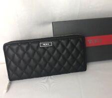 Tumi Women's Wallet Quilted Continental Zip Around Clutch Purse RFID ID Lock BLK