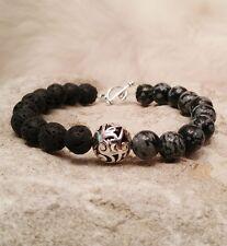Native American Bracelet Lava Obsidian Snowflake Stones Regalia Cherokee PowWow