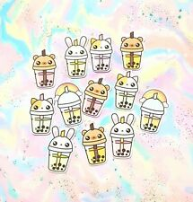 40 Pack Paper Kawaii Animal Bubble Tea Drink Stickers