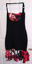 BEBE Black/Pink ruffled sexy Flamenco dress - size M - $149