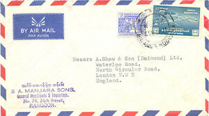 BURMA 1957 5 P Liberty Bell and 1 K 25 P Monastery Sangharama Airmail-Cover