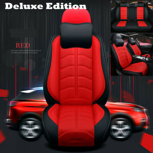 Car Seat Cover Luxury PU Leather Seat Cushion Protector Fit For 5-Seats Auto