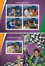 Chess Grandmasters Anand Carlsen Kramnik Kasparov Sports Maldives MNH stamp set