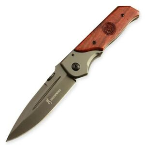 Browning Folding Pocket Knife-Wood Handle-Stainless Steel-Gray Titanium- Hunting