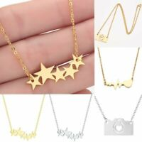 Star Camera Love Stainless Steel Necklace Pendant Elegant Women Jewelry Gifts