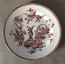 Antique 1878 T. Elsmore & Son Brown Transferware Salad/Luncheon Plate 7-5/8""