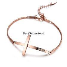 Damen Edelstahl Armband Seitlich Kreuz Schlangenkette Armreif Armkette Rose Gold