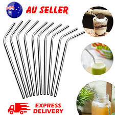 10 X Eco Stainless Steel Metal Drinking Straw Straws Bent Reusable Washable