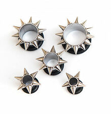 5 x Surgical steel ear tunnel plug spiky sun with rubber O ring different sizes