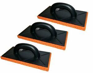 3 x Rubber Orange Sponge Float Trowel 11 inch Plastering Rendering Rough Coarse