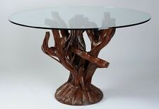 Wooden Dining Table Handmade/Hand Carved Rosewood Brown Timber & Top Glass #1121