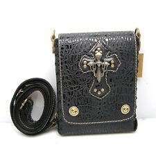 Leather Biker/Skull/Gothic Shoulder bag-handbag-waist bag in black. FREE postage