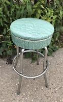 "VTG MCM Metal Green Vinyl Shop Chrome Retro Bar Kitchen Counter Stool Chair 29"""