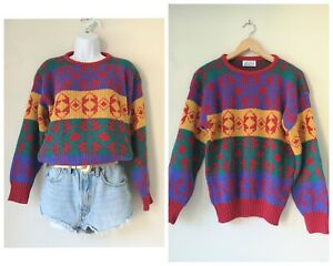 Vintage 80s 90s yellow red purple green aztec Jumper 8 10 small