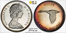 1967 CANADA GOOSE SILVER DOLLAR PCGS PL65CAM NEON TONED INTENSE COLOR UNC (DR)