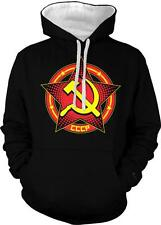 Russia CCCP USSR Soviet Union Star Hammer Sickle Circle 2-tone Hoodie Pullover