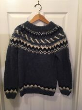 alafoss sweater Icewool Hand Knitted Blue And White icelandic vintage