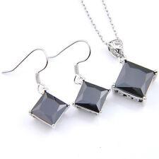 Holiday Jewelry Set 2 Pcs 1 Lot Square Style Black Onyx Silver Pendant Earrings